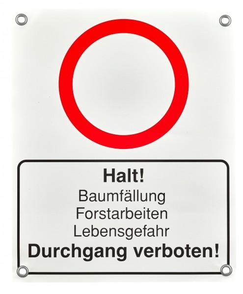 Absperrbanner Durchgang verboten Forstarbeiten