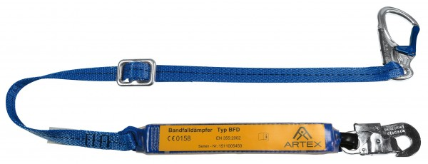 Verbindungsmittel mit Bandfalldämpfer, längenverstellbar