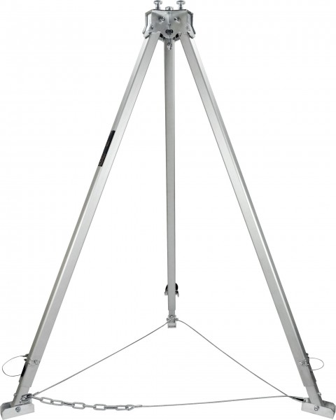 Höhenverstellbarer Dreibock mit Kettenabspannung